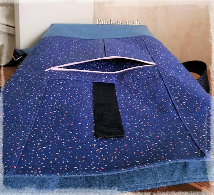 roll top backpack range backpack sac à dos patchwork sewing bag slip pocket hang loop straps zippered pocket