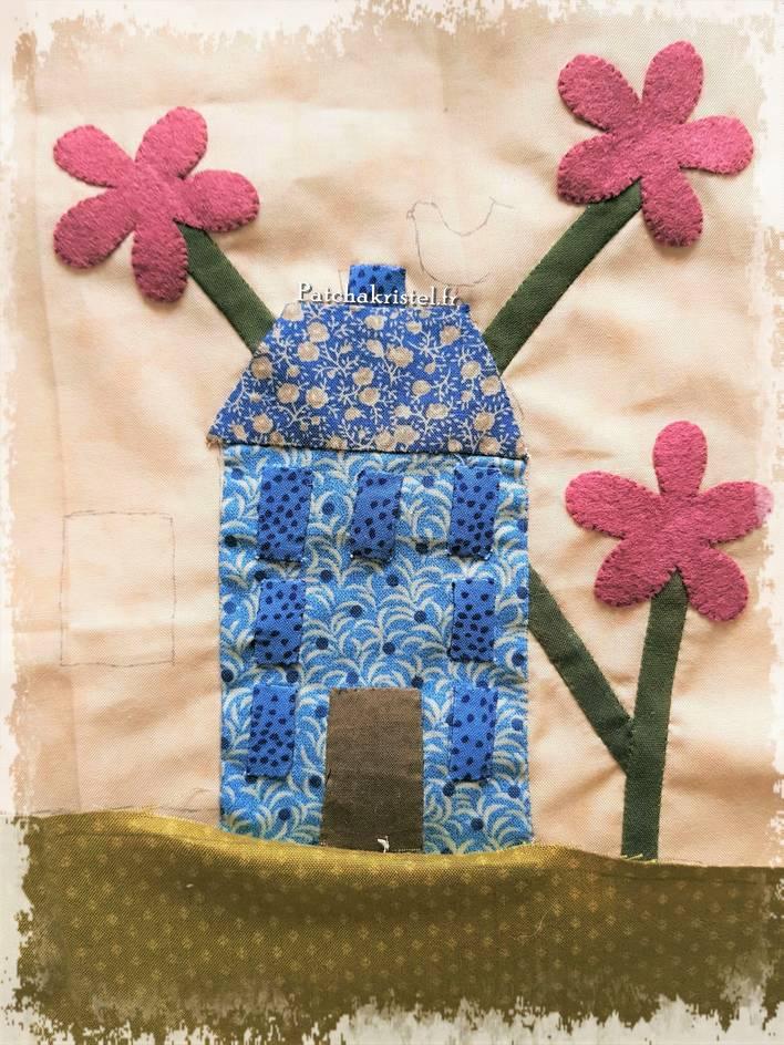 stitched by me lynette anderson patchwork quilt sewing room salle de couture boutique quilt shoppe wool fabric flower appliqué