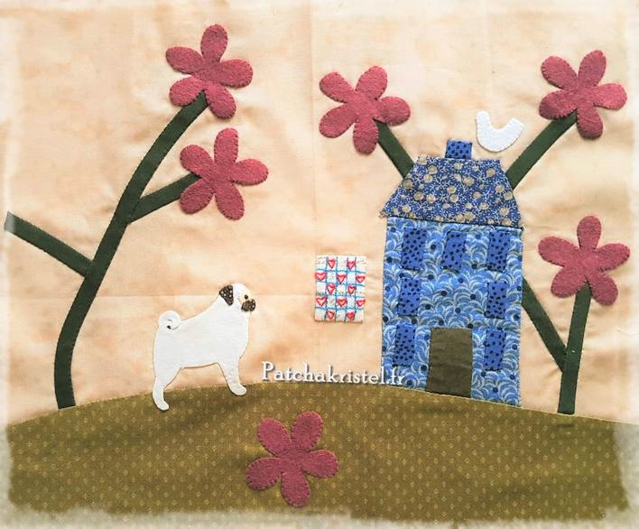 stitched by me lynette anderson patchwork dog fabric pug carlin appliqué quilt sewing room salle de couture boutique quilt shoppe yo-yo flower wool fabric yoyo biais oiseau bird