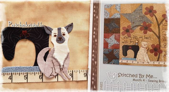 patchwork quilt cat chihuahua appliqué sweing machine flower wool fabric yoyo friendship star bloc block dog broderie embroidery drawing pattern
