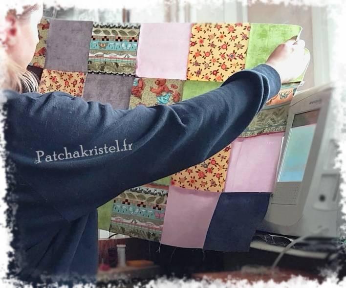 plaid patchwork pour bébé édredon ourson ours insect développement durable fleur végétation lapin ours brun- quilt for baby comforter blanket bear rabbit teddy bear sustainable development vegetation flower insect