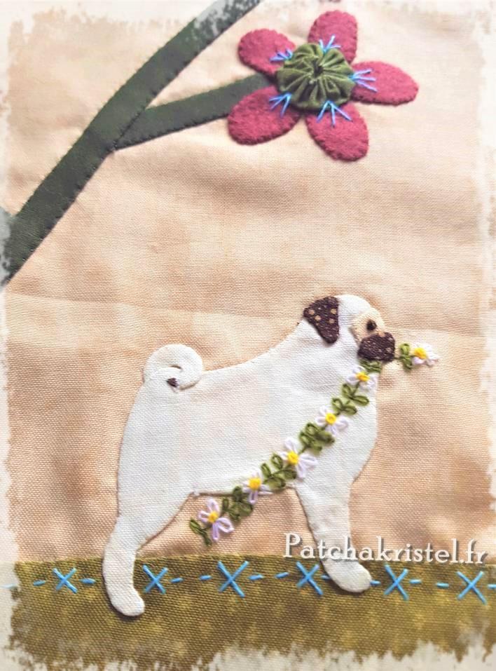 stitched by me lynette anderson patchwork dog fabric pug carlin appliqué quilt flower fleurs embroidery fleur yoyo yo-yo wool fabric