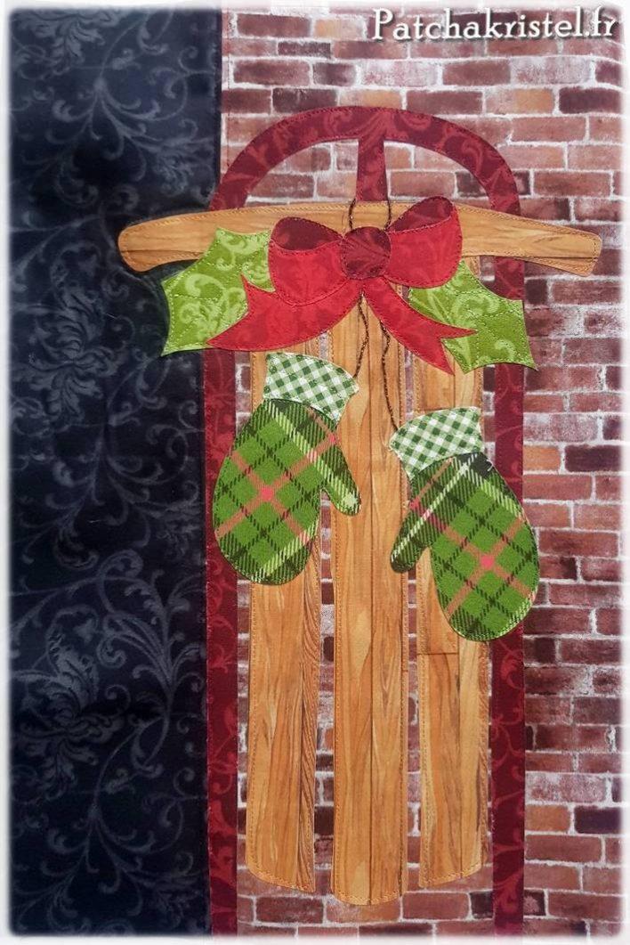 Patchwork de Noël : le bloc de la luge avec les moufles quilté
